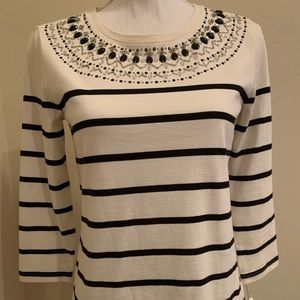 Talbots Embellished Cotton White and Black Top